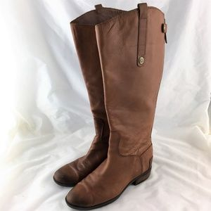 Knee high riding boots brown leather wide calf 8